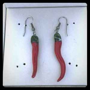 Unique red pepper earrings